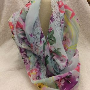 Silky infinity scarf in spring colors blue pink